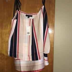 Two-tiered striped chiffon blouse